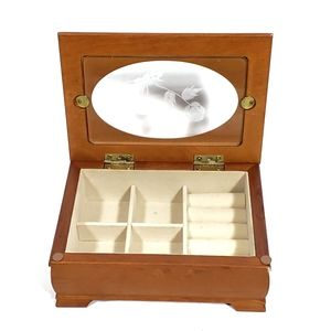 BOGO Small Wood Jewelry Box With Floral Glass